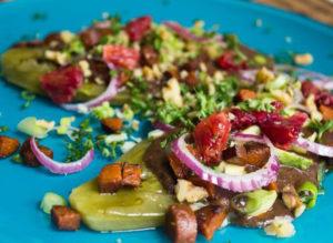 Sarah Kaufmanns Rezeptesammlung mit Gerichten aus aller Welt ist schlicht einmalig. Hier im Bild der gegrillte Kaktus mit Bohnen-Paste. – Foto: www.veganguerilla.de