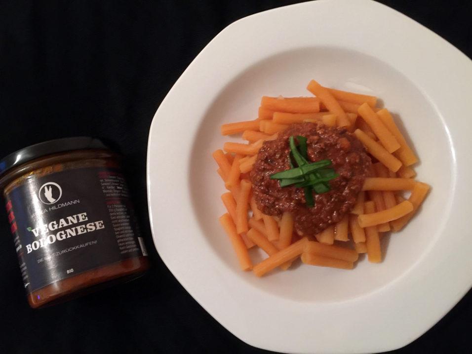 Schmeckt wie die «normale» Bolo beim Italiener – die AH-Bolognese, hier auf glutenfreien Linsennudeln.
